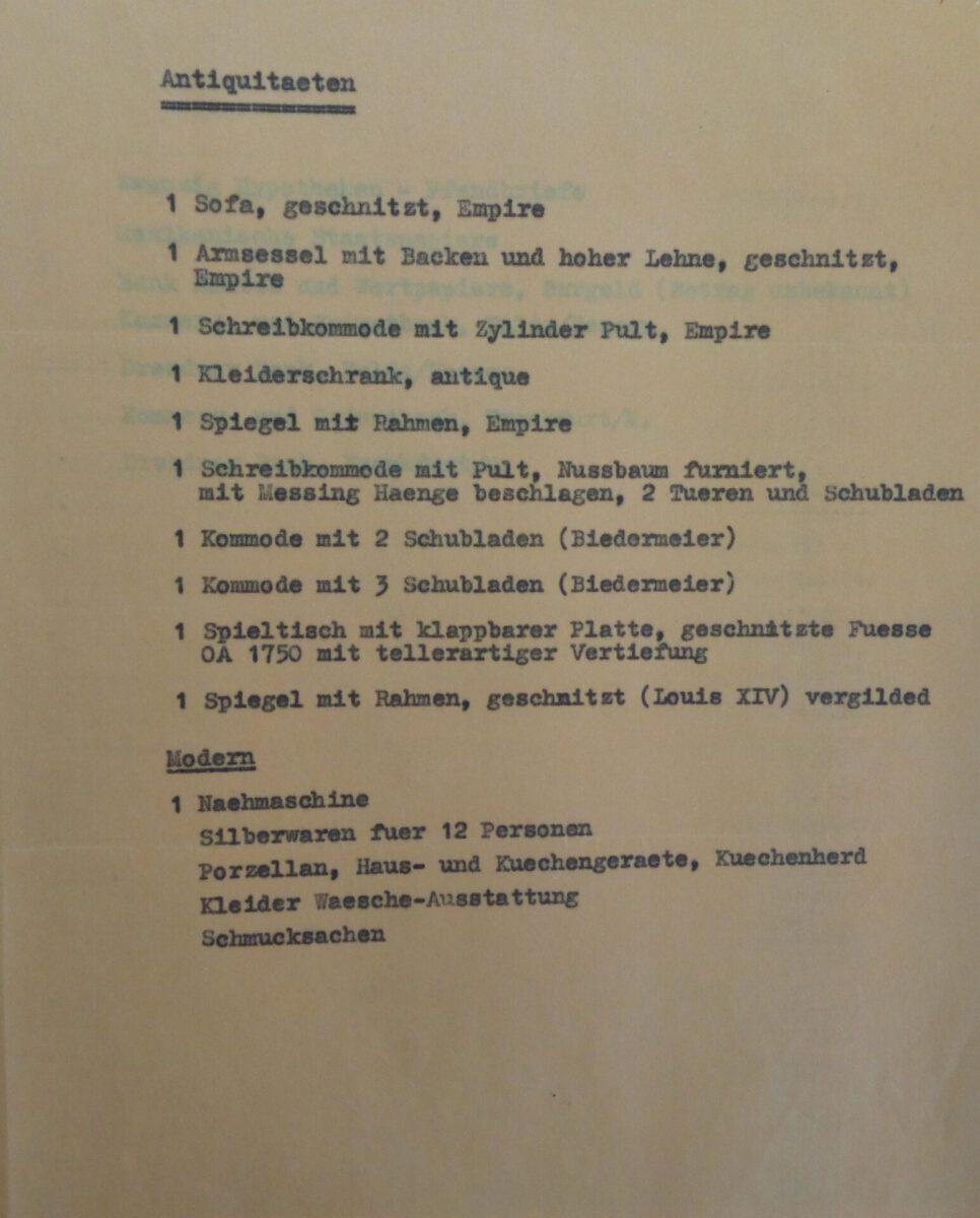Besitzangaben von Josef Braunold im Wiedergutmachungsverfahren