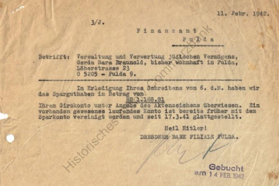 Antwort der Dresdner Bank an das Finanzamt Fulda, Quelle Historisches Archiv Commerzbank