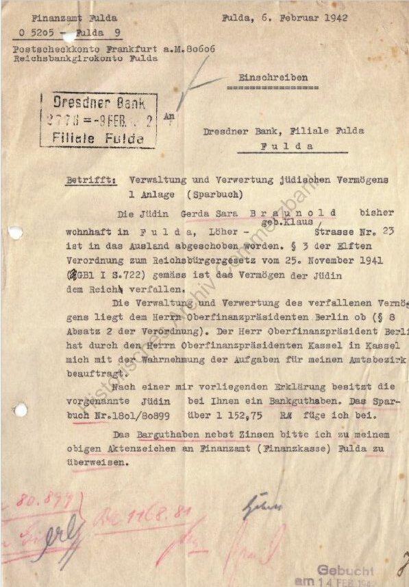 Schreiben des Finanzamtes Fulda an die Dresdner Bank Filiale in Fulda; Quelle Historisches Archiv Commerzbank