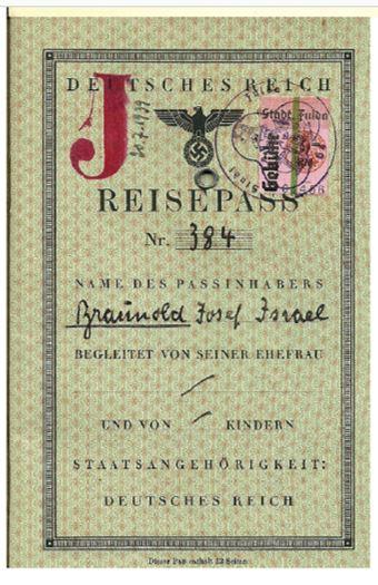 Josef Braunolds Reisepass