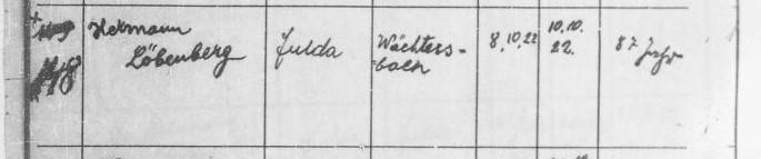Auszug aus dem Sterberegister - Hermann Löbenberg; Quelle Hessisches Hauptstaatsarchiv, HHStAW Abt. 365 Nr. 348, S. 23