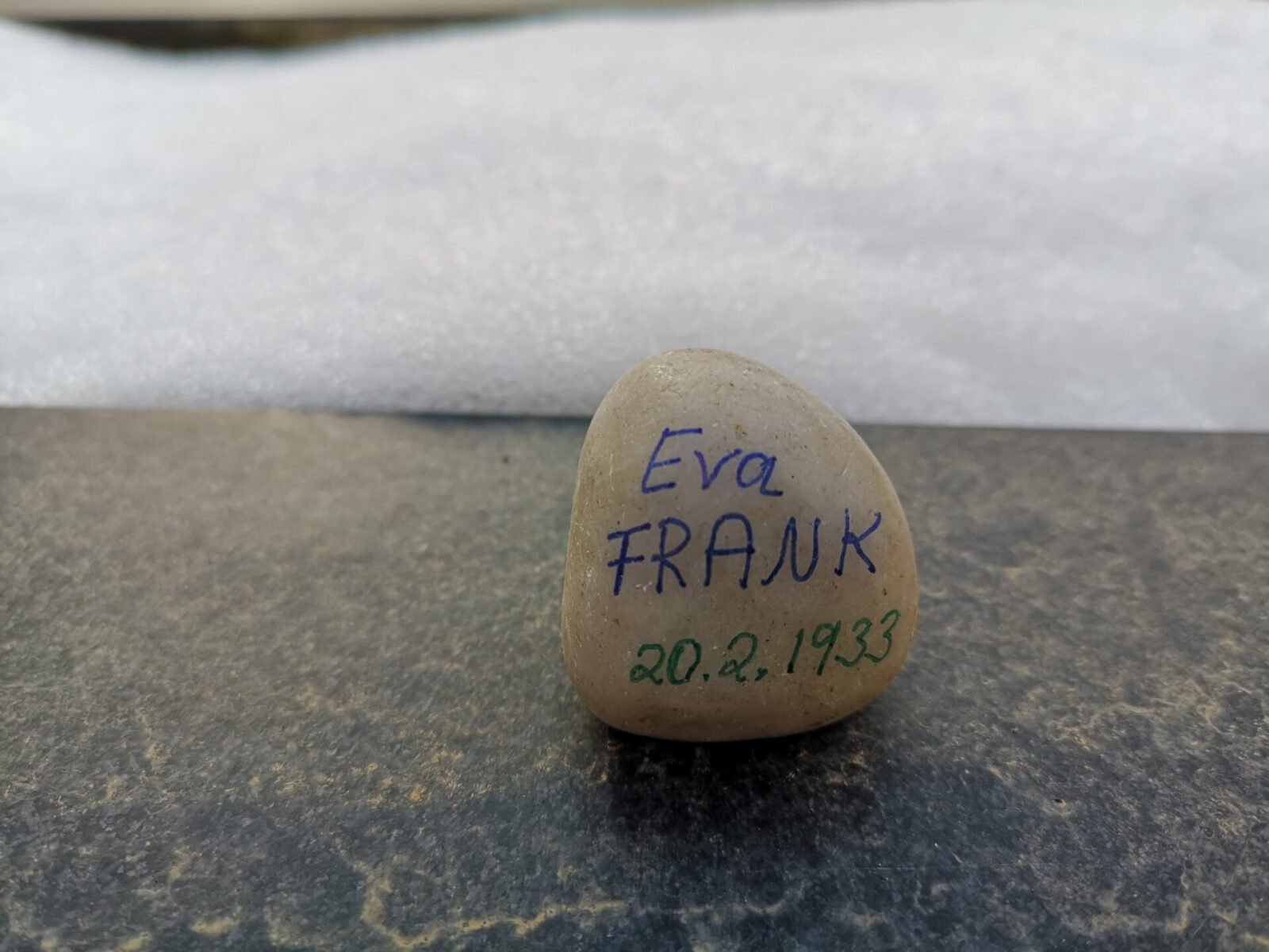 Eva Frank, Gedenkstein Februar 2021