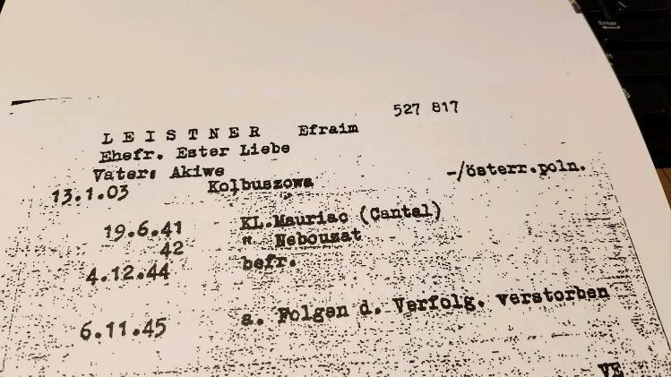 Efraim Leistners (Ehemann von Erna) NS-Verhaftungsprotokoll