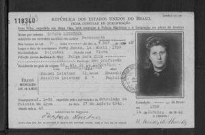 Erna (Estera) Leistners, geb. Herbstmann brasilianische Immigrationskarte