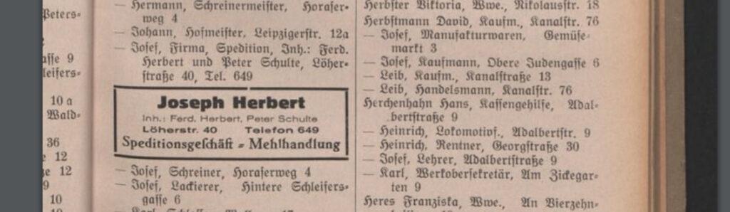 Auszug aus Fuldas Adressbuch 1928, rechts der Eintrag Leib Herbstmann