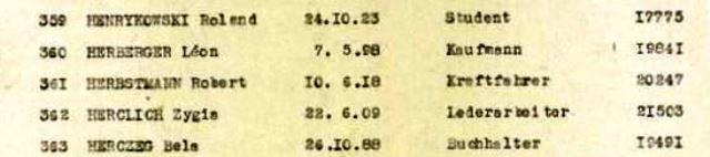Konvoi Nr. 73 Auszug der Deportationsliste, Nr. 361 Benno Baruch bzw. Robert Herbstmann
