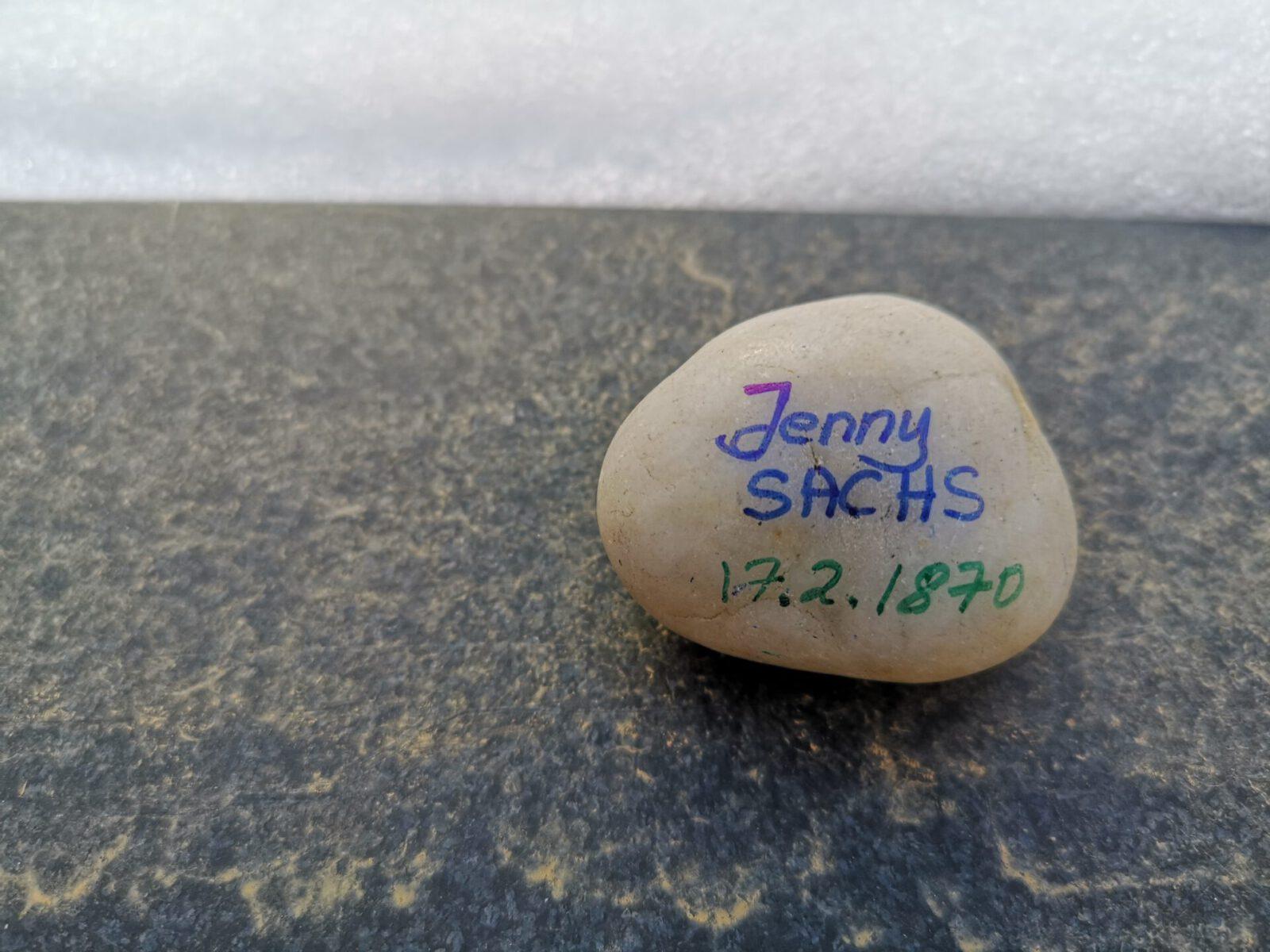 Jenny Sachs, Gedenkstein Februar 2021